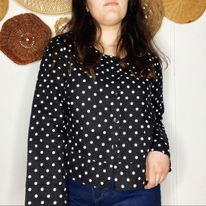 FLAX Black And White Polka Dot Linen Button Up